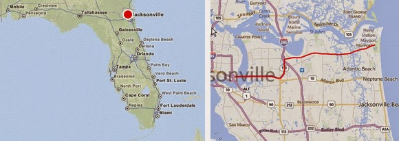 Route von Jacksonville über Arlington nach Kathryn Abbey Hanna Park