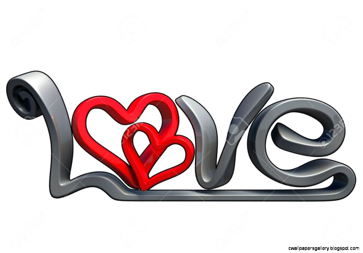 Text That Says The Word Love Made In 3D Software Isolated On