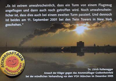 Silhouette der Stadt Schweinfurt mit Kühlturmwolke vom Atomkraftwerk Grafenrheinfeld – endlich bald Vergangenheit!