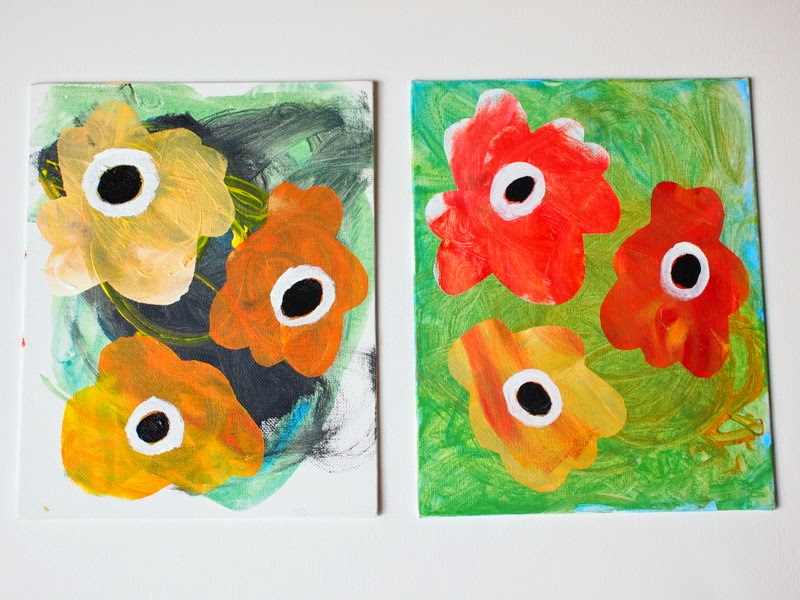 kid made contact paper stenciled flowers