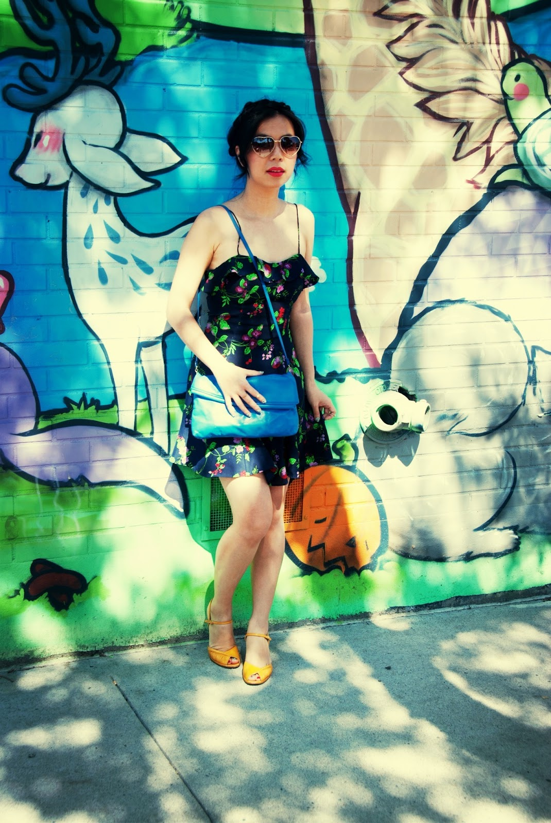 navy grape dress heart sunglasses graffiti blue purse yellow vintage sandals