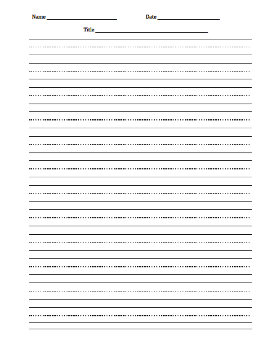Lined paper to help with handwriting