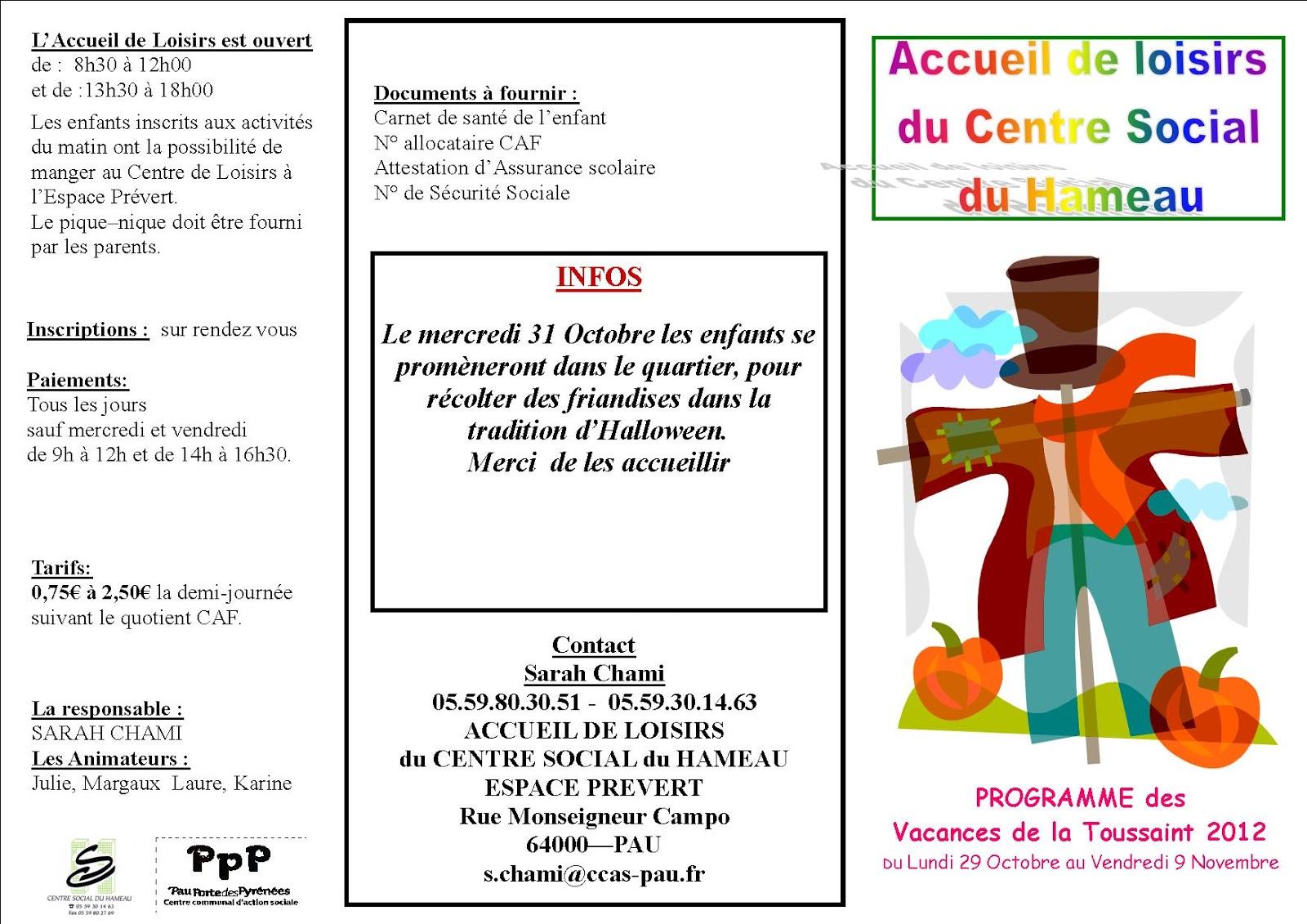 Centre social du hameau pau vacances toussaint Vacances toussaints