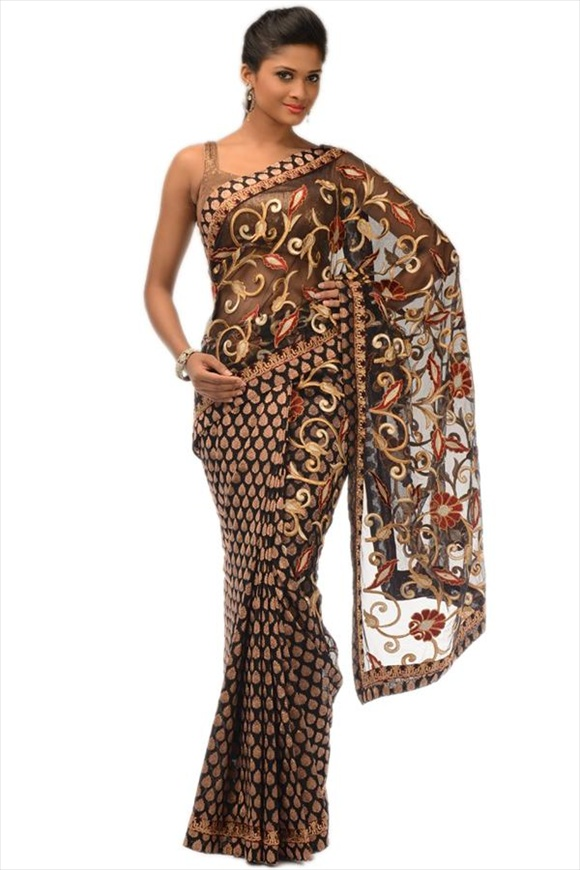 indian Black Net Saree