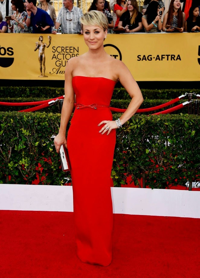 Kaley Cuoco is sultry in a red strapless dress at the 21st Annual Screen Actors Guild Awards in LA