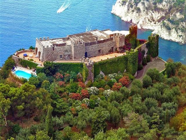 Aerial view of Castiglione castle in Capri