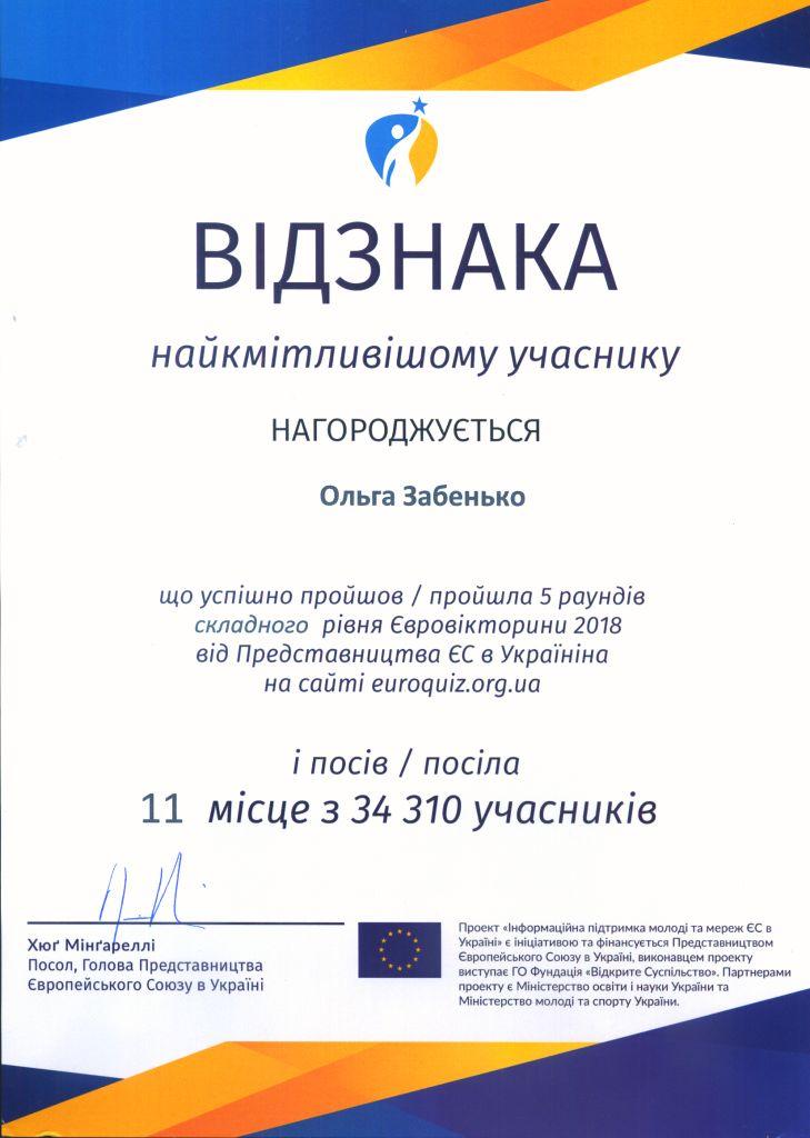 Відзнака від Голови Представництва ЄС в Україні