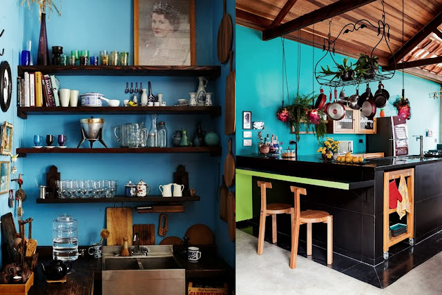 Bohemian-Black-And-Turquoise-Kitchens