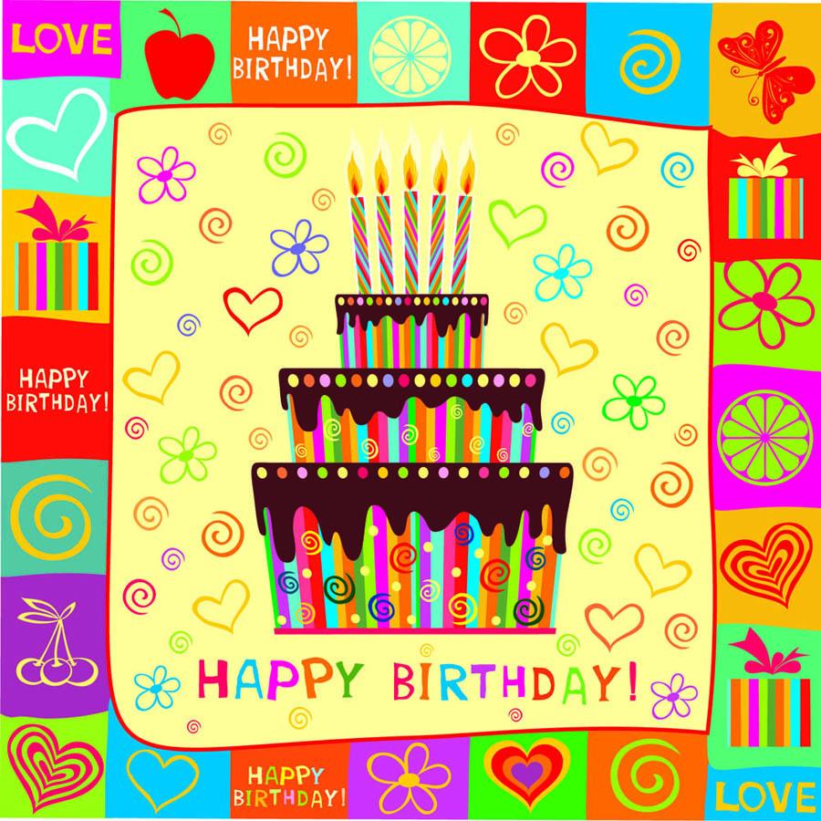 手書きの誕生日カード背景 exquisite handpainted elements birthday イラスト素材