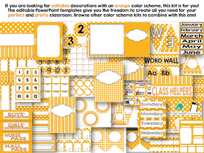 Editable Orange Color Scheme Class Decor Kit