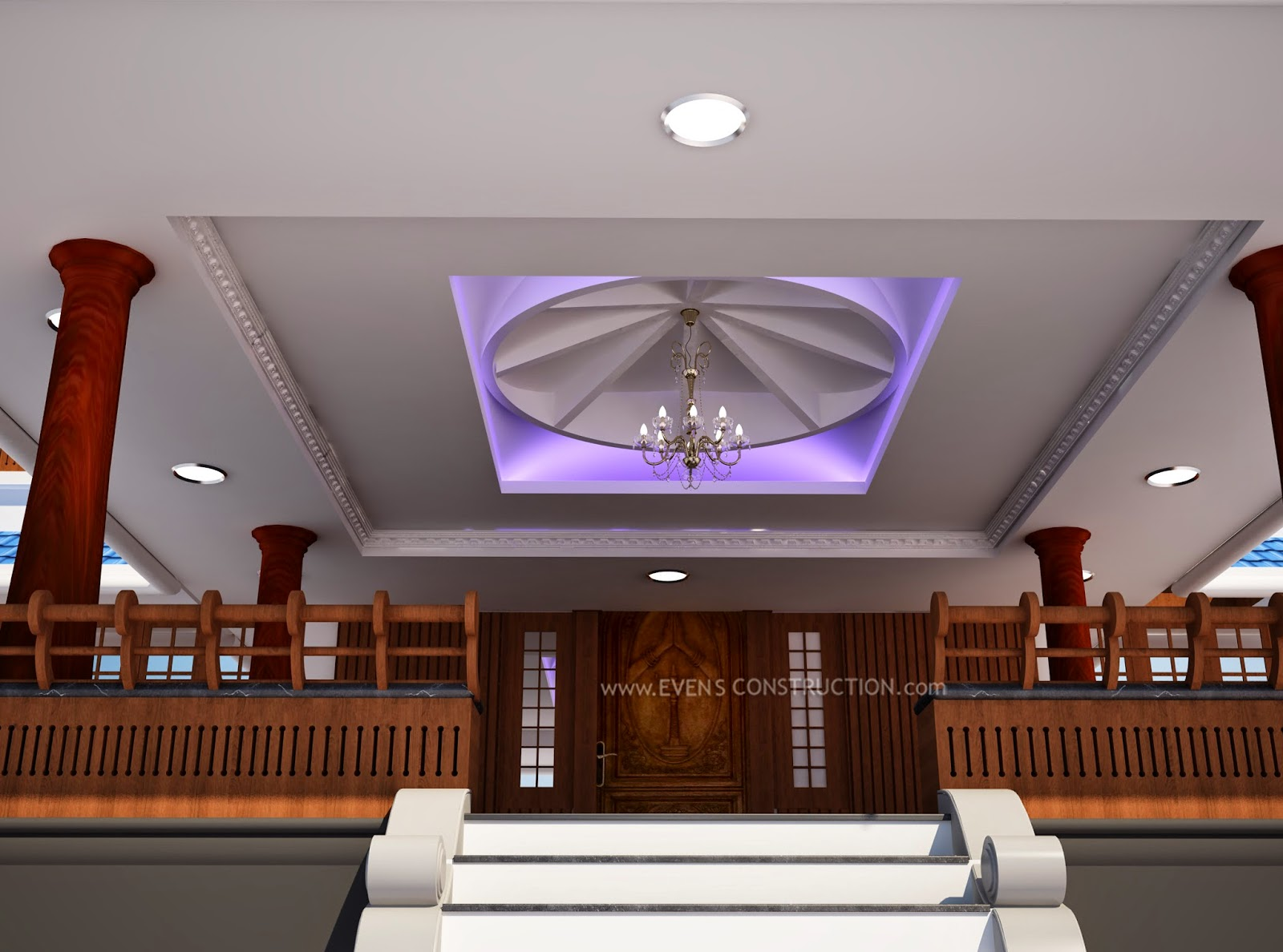 Sitout ceiling home for Kerala house interior arch design