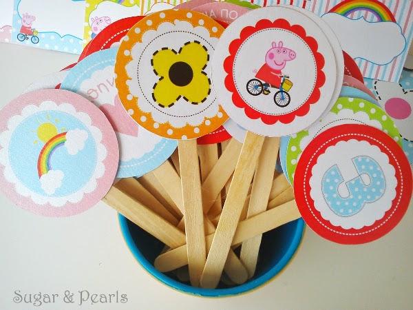 Η Πέππα κάνει ποδήλατο-food toppers-Sugar & Pearls