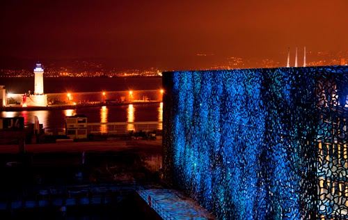 The Museum of European and Mediterranean Civilizations (MuCEM) at the tip of the Mediterranean Sea in Marseille, France. Designed by French architect Rudy Ricciotti