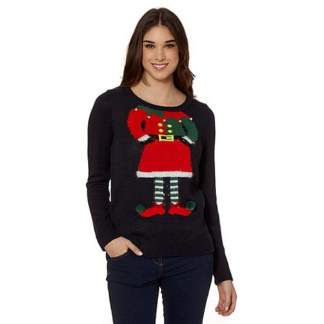 Navy elf knitted Christmas jumper and price