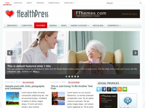 Free HealthPress exciting New Health Website or Blog for WordPress