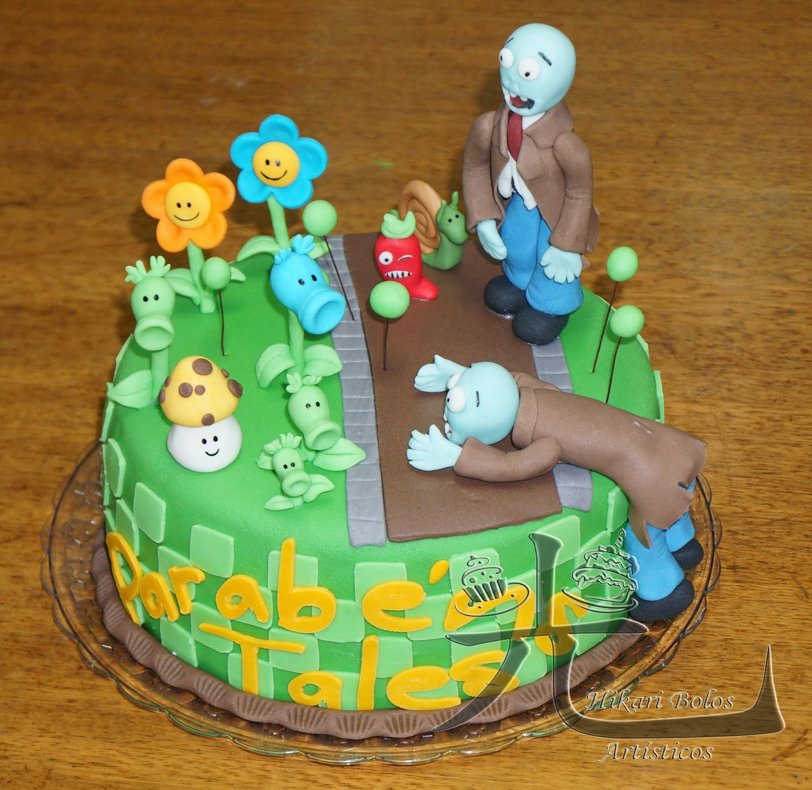 hikari bolos artísticos bolo plantas vs zumbis