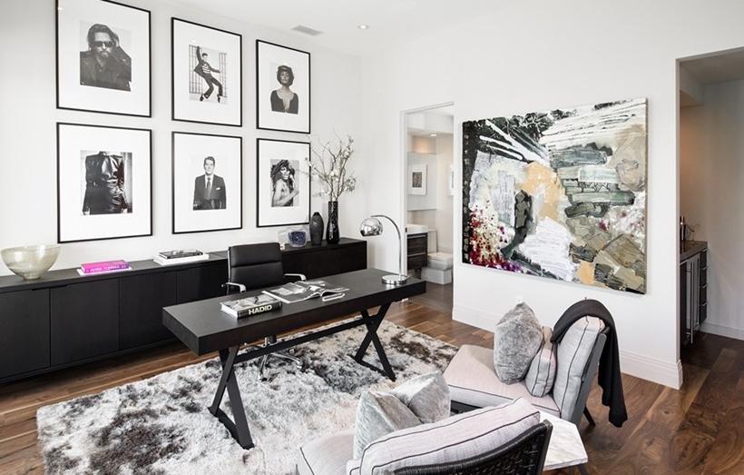 Elegant black and white home office