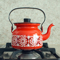 gift for ladies mid-century enamel teapot