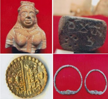 Pendants, ornaments, bangles of gold, silver and copper found from burned city in India