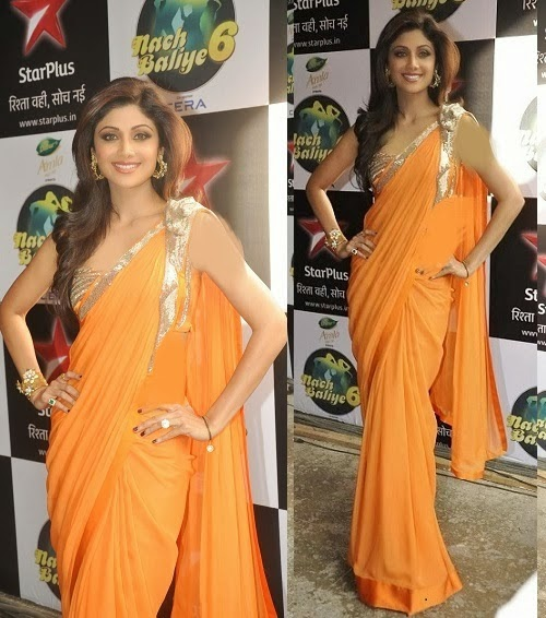 Shilpa Shetty in Orange Kota Silk Saree