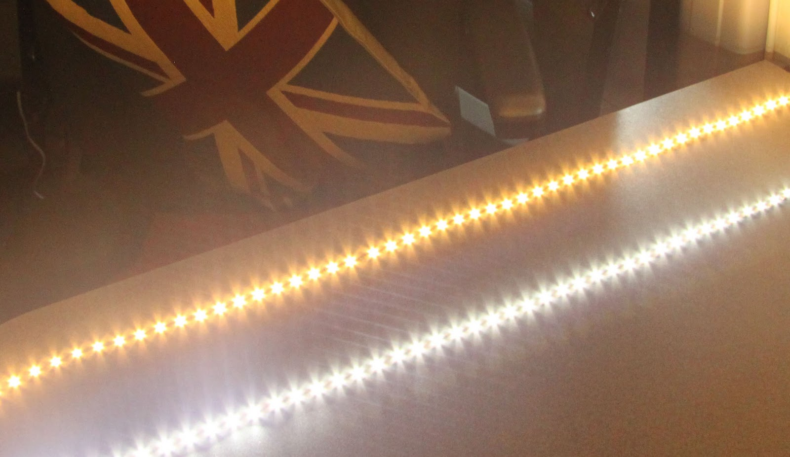 Motorhome adhesive led lighting strips europe by camper the picture to the left shows two different led strips its actually pretty hard to photograph them they are so bright the strip on the left is a warm aloadofball Gallery