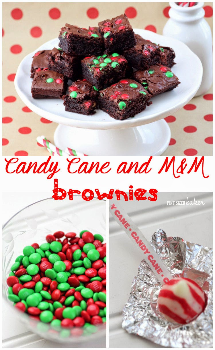 Easy Brownies stuffed with Candy Cane Kisses and sprinkled with M&Ms. Dessert is ready in 30 minutes!