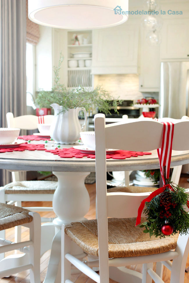 breakfast set decorated for Christmas
