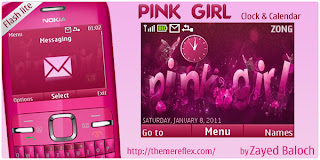 pink girls w clock calendar by zayedbaloch Download Tema Nokia C3 Gratis