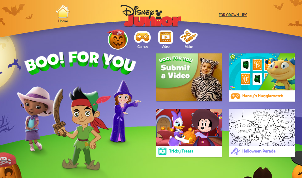 visit disneyjuniorcomhalloween for some all ages shows activities and more you can even post a halloween video of your child to be aired on disney
