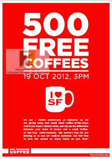 San Francisco FREE 500 CoFFEES offer
