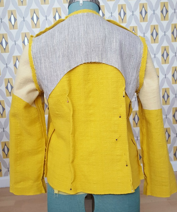Burda 1/2016 #120 tailored yellow jacket www.loweryourpresserfoot.blogspot.com