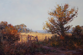farm gate & tree oil painting by andy dolphin