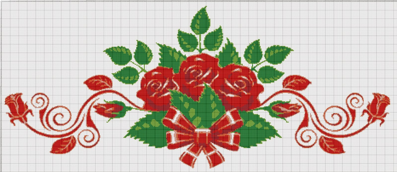 Gambar Pola Kristik Bunga Mawar Merah (3)