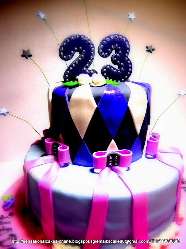 The sensational cakes special romantic 2 tier cake singapore special romantic 2 tier cake singapore diamond checker black white violet cake singapore 21st birthday cake ideals thecheapjerseys Images