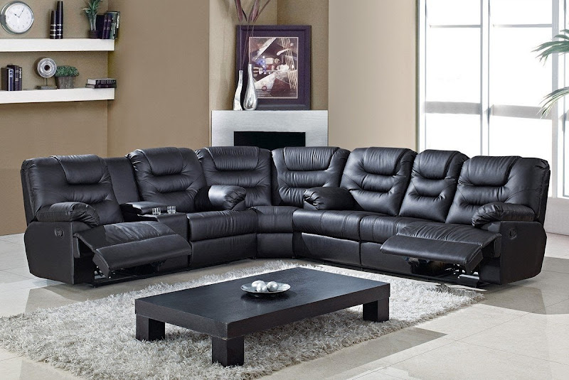 Black Leather Sectional Recliner And Sleeper (4 Image)