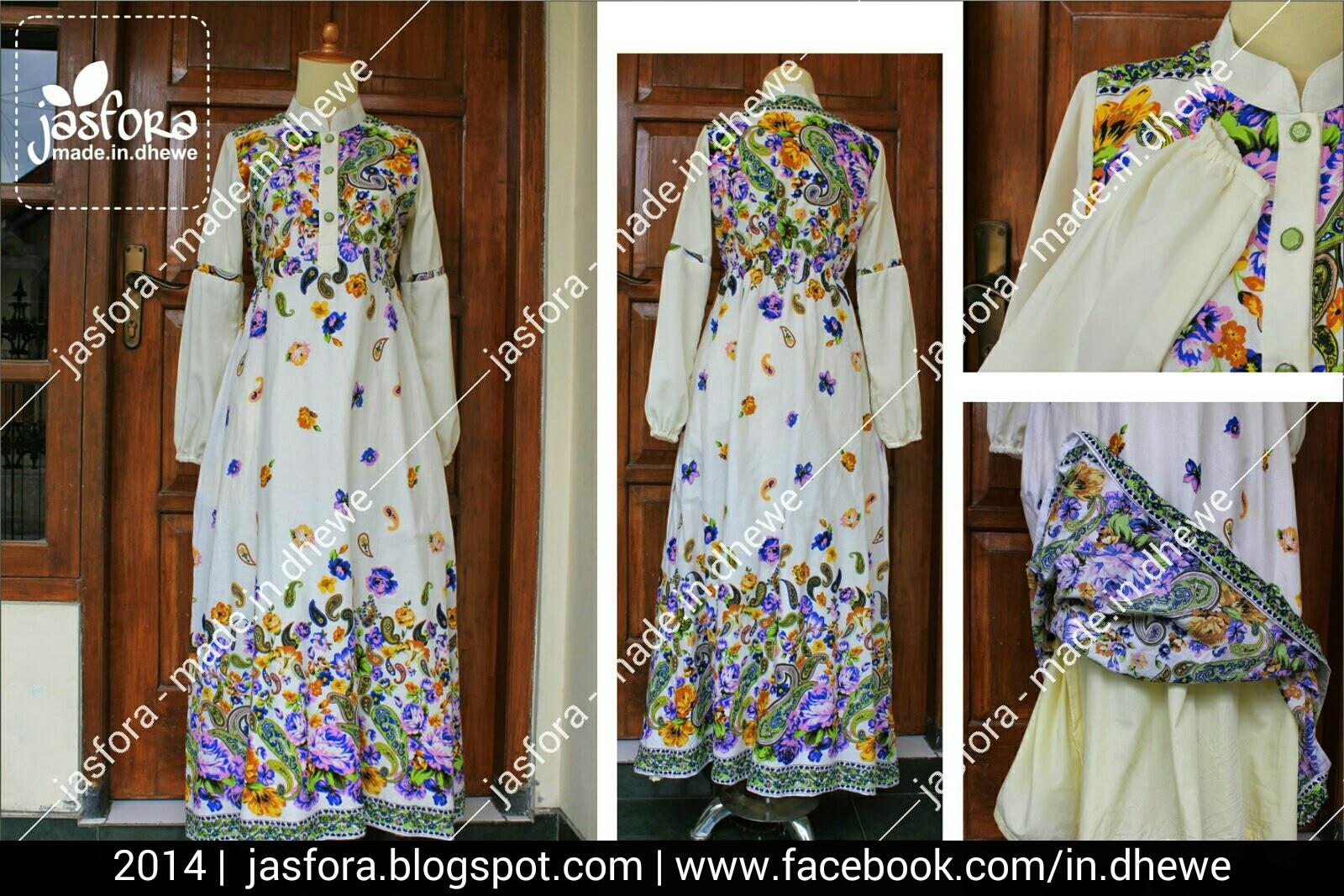 gamis katun motif primissima paisley ungu tumpal putih kombinasi imperial putih tulang, furing katun ero kuning muda
