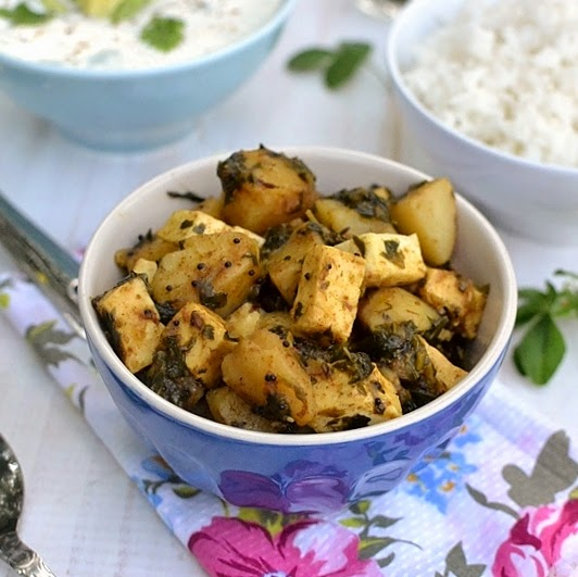 Potato Paneer Methi Curry (Alu Paneer Methi Curry)