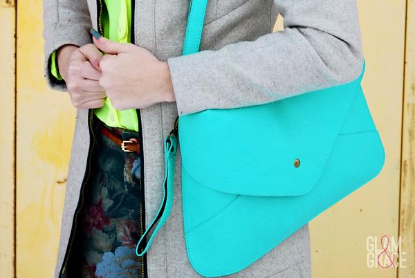 Zara floral pants - mint envelope purse
