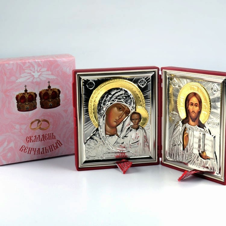 Christ and Virgin of Kazan Diptych Wedding Icon Set
