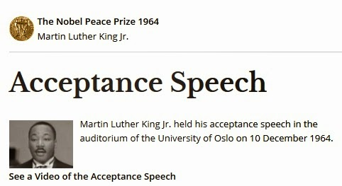 acceptance speech martin luther king