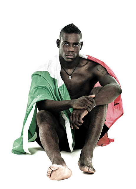 Mario Balotelli on Vanity Fair magazine, wearing Italian flag