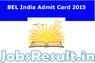 BEL India Admit Card 2015