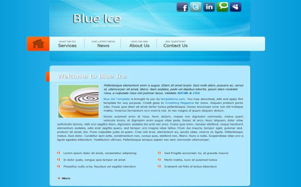 Free Business Blue Ice CSS Website Template