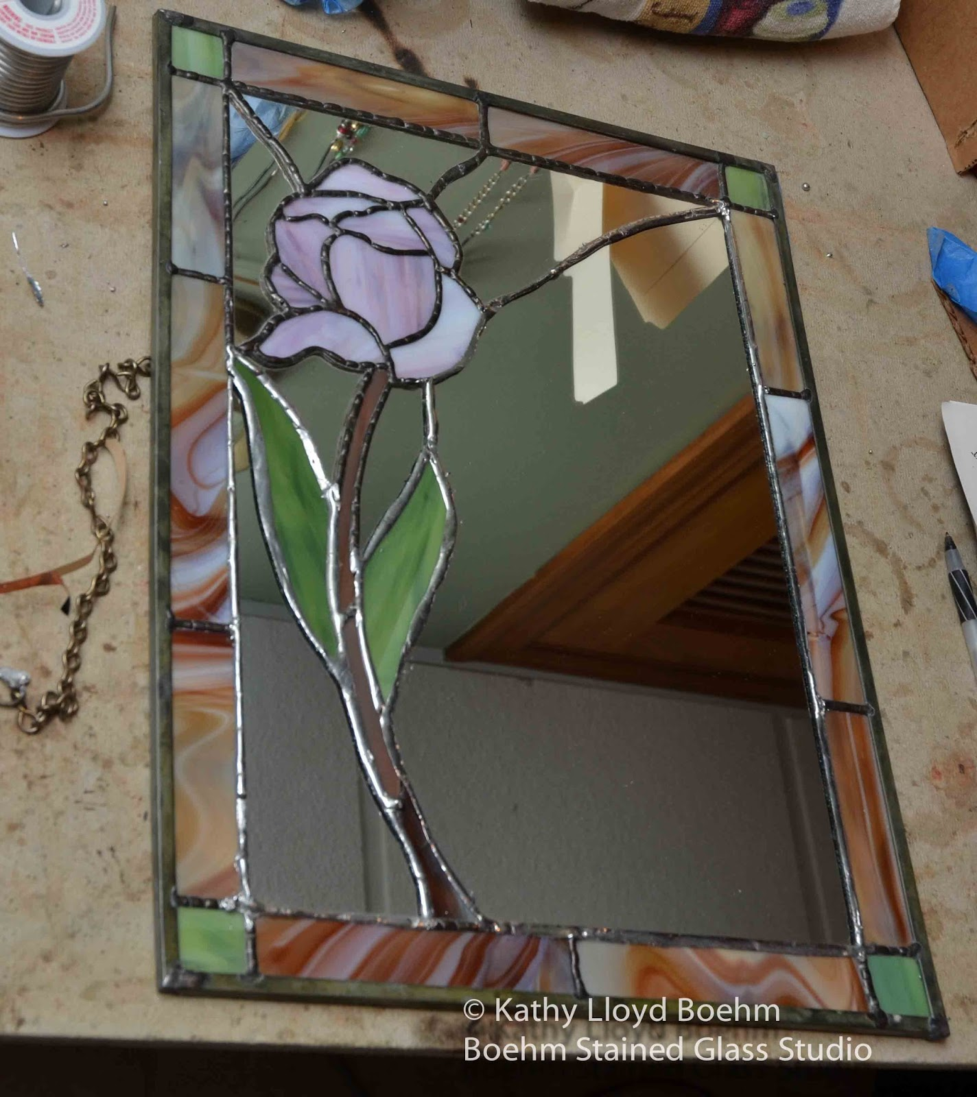 boehm stained glass blog stained glass floral mirror repair. Black Bedroom Furniture Sets. Home Design Ideas