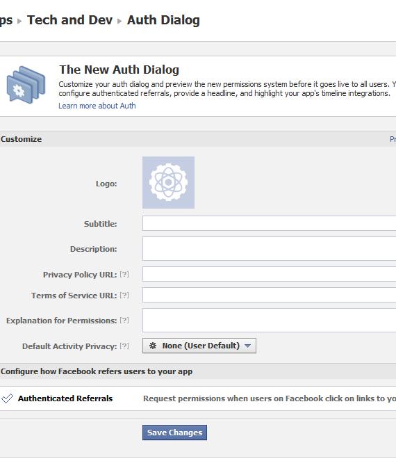 Facebook App Auth Dialog