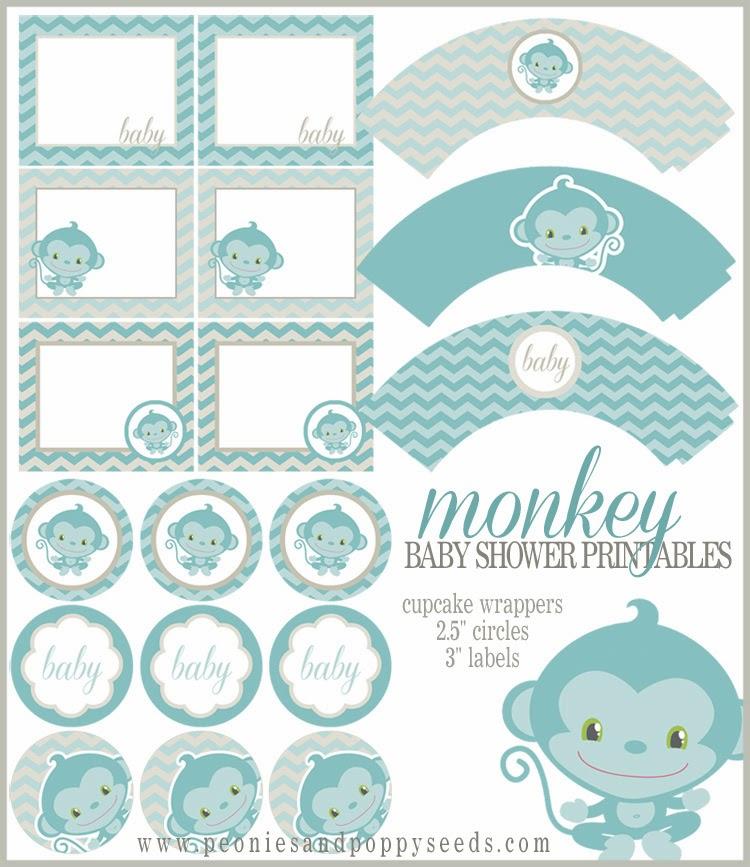 Monito: Mini Kit para Baby Shower para Imprimir Gratis.
