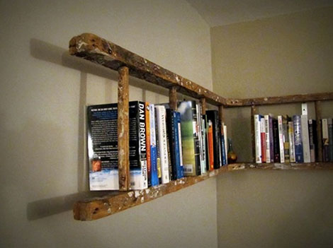 Diy library ladder diy ideas for kitchen makeover with diy library with a little imagination a ladder and optional some paint or some boards you can make yourself your own library with diy library ladder solutioingenieria