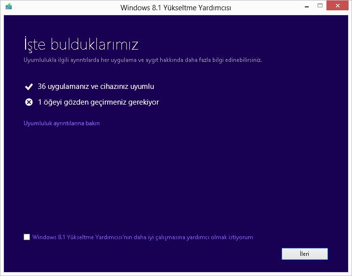 Windows Yükseltme Danışmanı