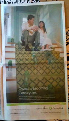 CenturyLink full page ad with photo of dad and daughter sitting at the top of a flight of stairs, smiling, as 7 Slinkies bounce toward the viewer