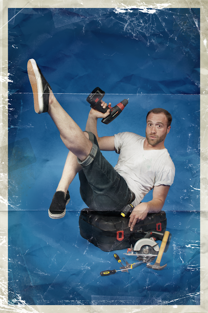 pinup poster of man posing with drill and pointed toe